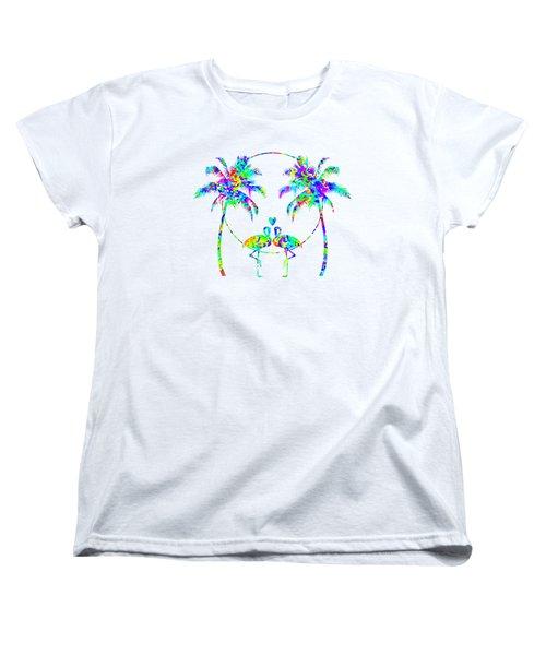Flamingos In Love - Splatter Art Women's T-Shirt (Standard Cut) by Shara Lee