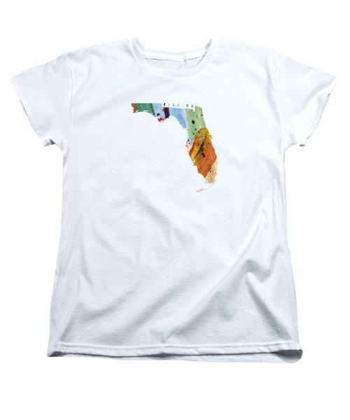 Florida Map Art - Painted Map Of Florida Women's T-Shirt (Standard Cut) by World Art Prints And Designs