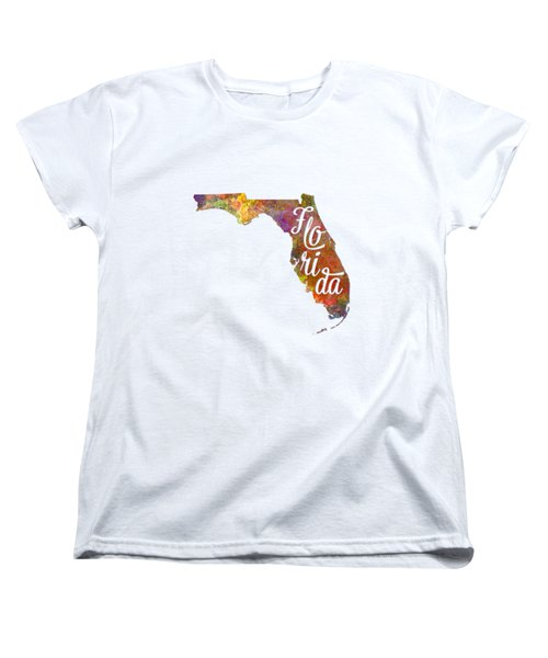 Florida Us State In Watercolor Text Cut Out Women's T-Shirt (Standard Cut) by Pablo Romero