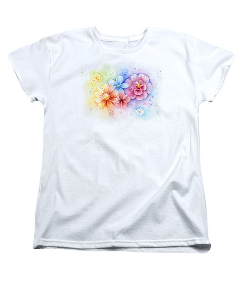 Flower Power Watercolor Women's T-Shirt (Standard Cut) by Olga Shvartsur
