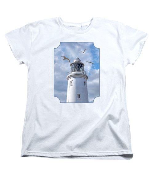 Fly Past - Seagulls Round Southwold Lighthouse Women's T-Shirt (Standard Cut) by Gill Billington