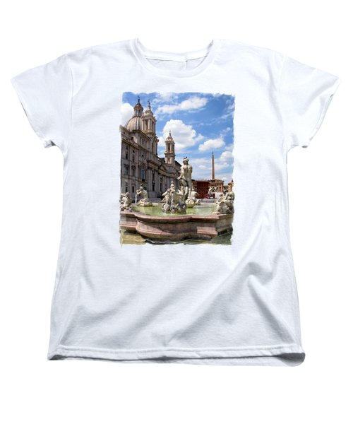 Fontana Del Moro.rome Women's T-Shirt (Standard Cut) by Jennie Breeze