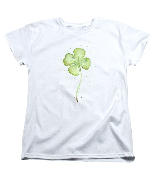 Women's T-Shirt featuring the painting Four Leaf Clover Lucky Charm by Olga Shvartsur