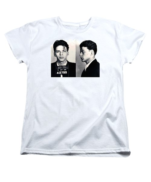 Frank Sinatra Mug Shot Horizontal Women's T-Shirt (Standard Cut) by Tony Rubino