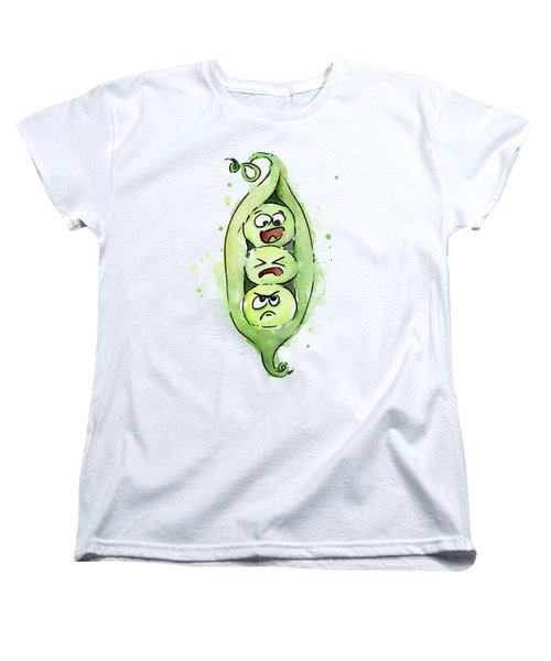 Funny Peas In A Pod Women's T-Shirt (Standard Cut) by Olga Shvartsur