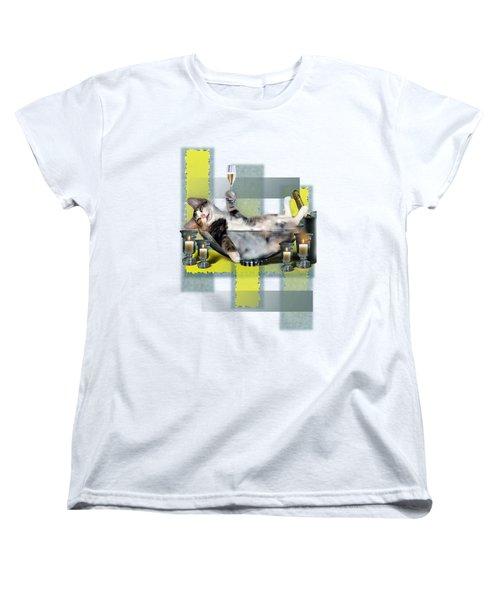 Funny Pet Print With A Tipsy Kitty  Women's T-Shirt (Standard Cut) by Regina Femrite