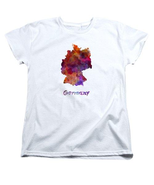 Germany In Watercolor Women's T-Shirt (Standard Cut) by Pablo Romero