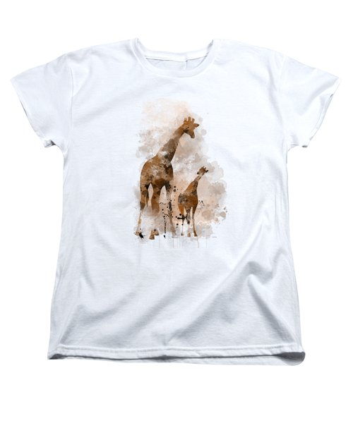 Giraffe And Baby Women's T-Shirt (Standard Cut) by Marlene Watson