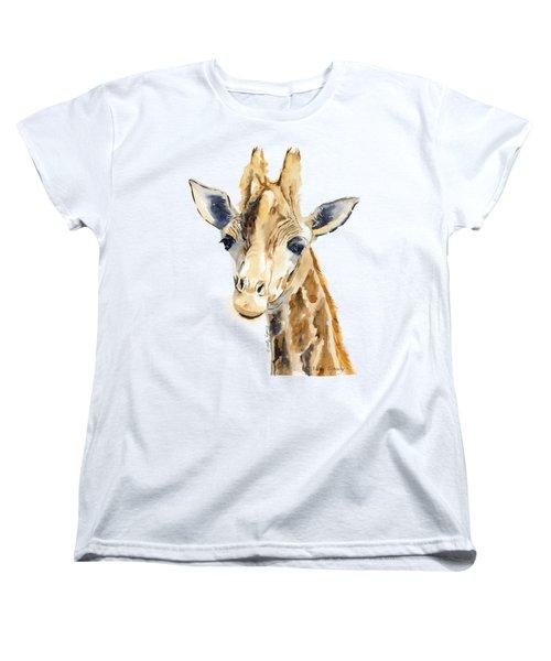 Giraffe Watercolor Women's T-Shirt (Standard Cut) by Melly Terpening