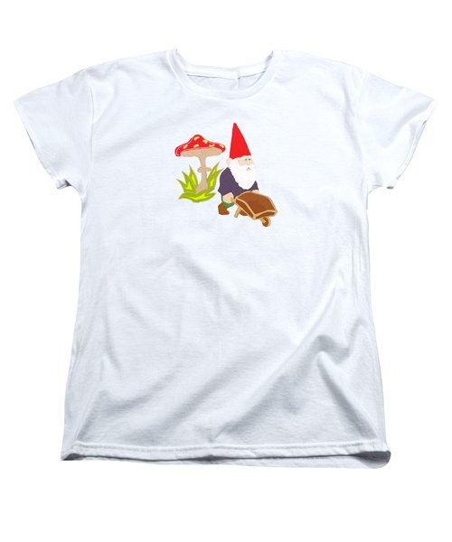 Gnome Garden Women's T-Shirt (Standard Cut) by Priscilla Wolfe