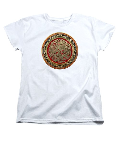 Golden Chinese Dragon White Leather  Women's T-Shirt (Standard Cut) by Serge Averbukh