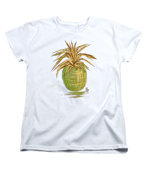 Green Gold Pineapple Painting Illustration Aroon Melane 2015 Collection By Madart Women's T-Shirt (Standard Cut) by Megan Duncanson