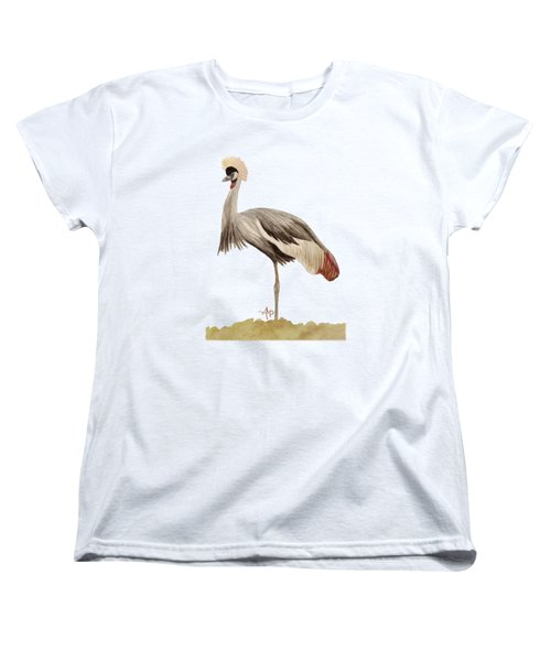 Grey Crowned Crane Women's T-Shirt (Standard Cut) by Angeles M Pomata