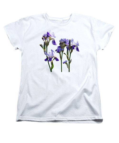 Group Of Purple Irises Women's T-Shirt (Standard Cut) by Susan Savad