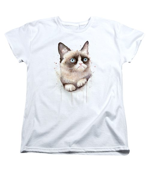Women's T-Shirt featuring the painting Grumpy Cat Watercolor by Olga Shvartsur