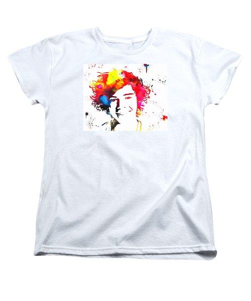 Harry Styles Paint Splatter Women's T-Shirt (Standard Cut) by Dan Sproul