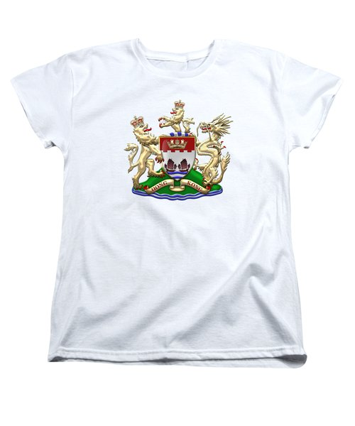 Hong Kong - 1959-1997 Coat Of Arms Over White Leather  Women's T-Shirt (Standard Cut) by Serge Averbukh