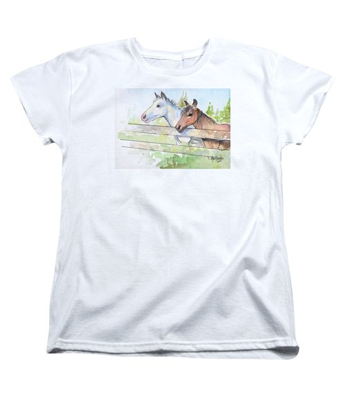 Horses Watercolor Sketch Women's T-Shirt (Standard Cut) by Olga Shvartsur