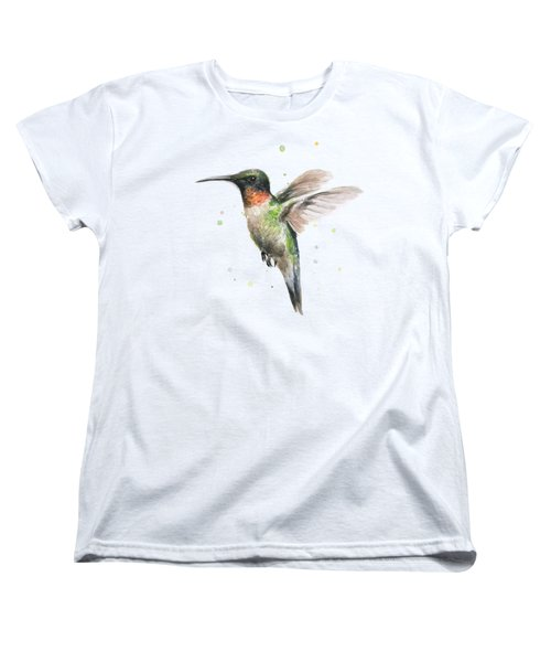 Women's T-Shirt featuring the painting Hummingbird by Olga Shvartsur