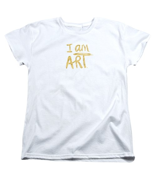 Women's T-Shirt featuring the painting I Am Art Gold - Art By Linda Woods by Linda Woods
