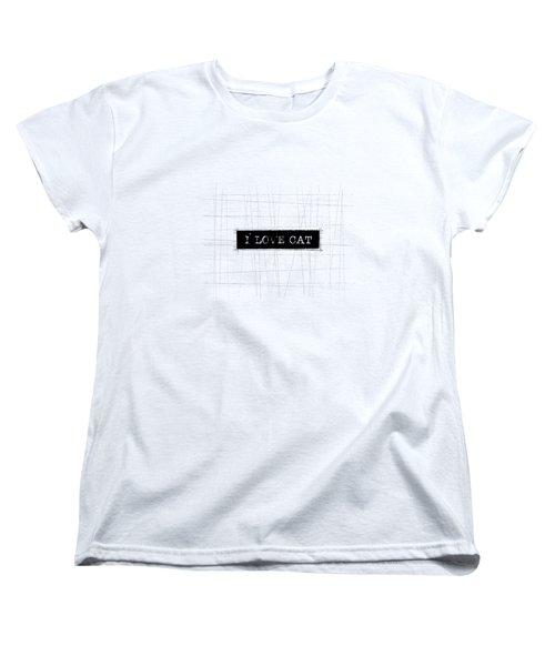 I Love Cat Word Art Women's T-Shirt (Standard Cut) by Kathleen Wong