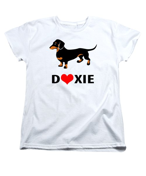 I Love My Doxie Women's T-Shirt (Standard Cut) by Antique Images