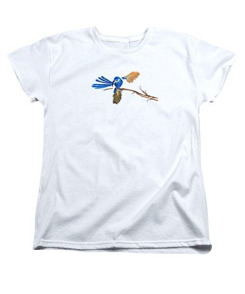 Inked Blue Fairy Wren Women's T-Shirt (Standard Cut) by Lorraine Kelly