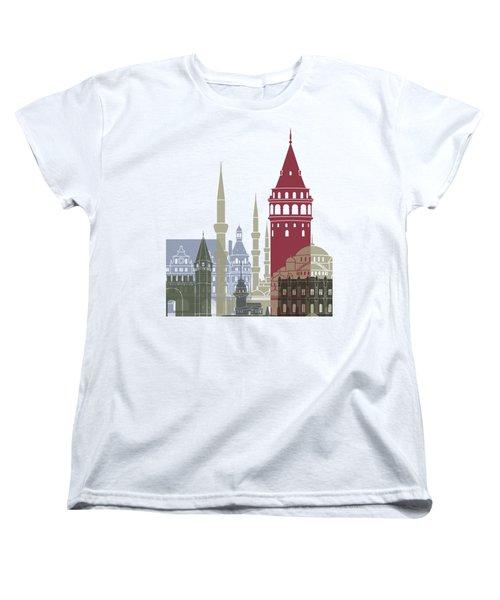 Istanbul Skyline Poster Women's T-Shirt (Standard Cut) by Pablo Romero