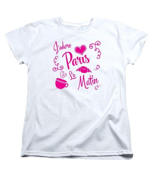 J'adore Paris Le Matin Women's T-Shirt (Standard Cut) by Antique Images