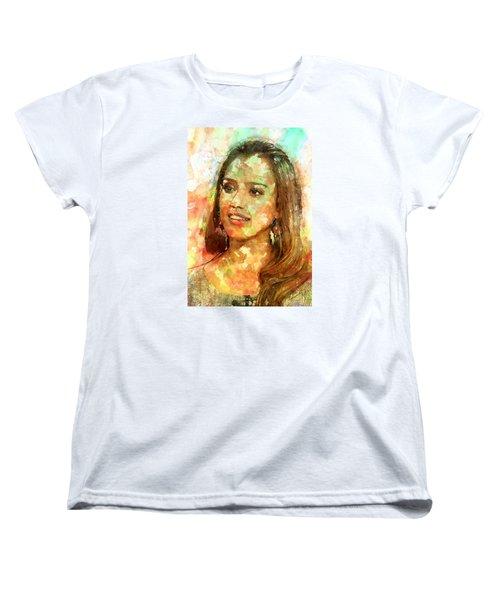 Jessica Alba Women's T-Shirt (Standard Cut) by Elena Kosvincheva