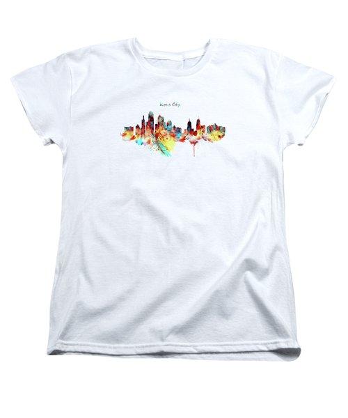 Kansas City Skyline Silhouette Women's T-Shirt (Standard Cut) by Marian Voicu
