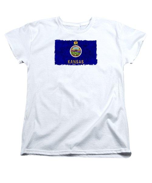 Kansas Flag Women's T-Shirt (Standard Cut) by World Art Prints And Designs