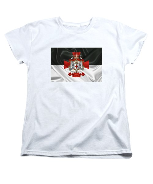 Knights Templar - Coat Of Arms Over Flag Women's T-Shirt (Standard Cut) by Serge Averbukh