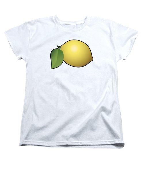 Lemon Fruit Outlined Women's T-Shirt (Standard Cut) by Miroslav Nemecek