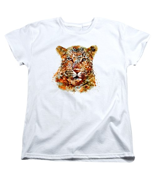 Leopard Head Watercolor Women's T-Shirt (Standard Cut) by Marian Voicu