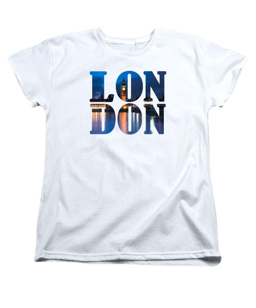 London Letters Women's T-Shirt (Standard Cut) by Matt Malloy
