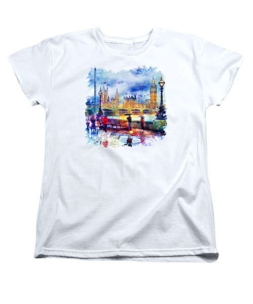 London Rain Watercolor Women's T-Shirt (Standard Cut) by Marian Voicu