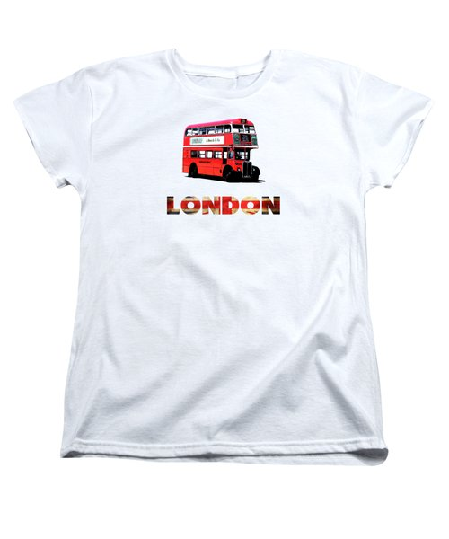 London Red Double Decker Bus Tee Women's T-Shirt (Standard Cut) by Edward Fielding