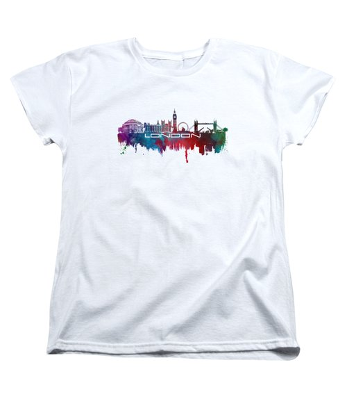 London Skyline City Blue Women's T-Shirt (Standard Cut) by Justyna JBJart