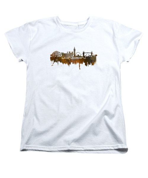 London Skyline City Brown Women's T-Shirt (Standard Cut) by Justyna JBJart