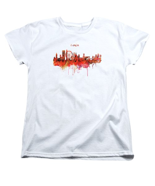London Skyline Watercolor Women's T-Shirt (Standard Cut) by Marian Voicu