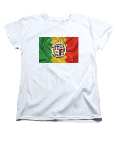 Los Angeles City Seal Over Flag Of L.a. Women's T-Shirt (Standard Cut) by Serge Averbukh