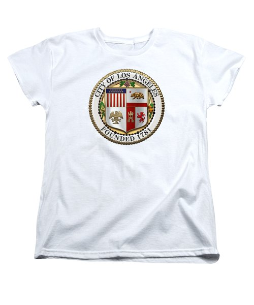 Los Angeles City Seal Over White Leather Women's T-Shirt (Standard Cut) by Serge Averbukh