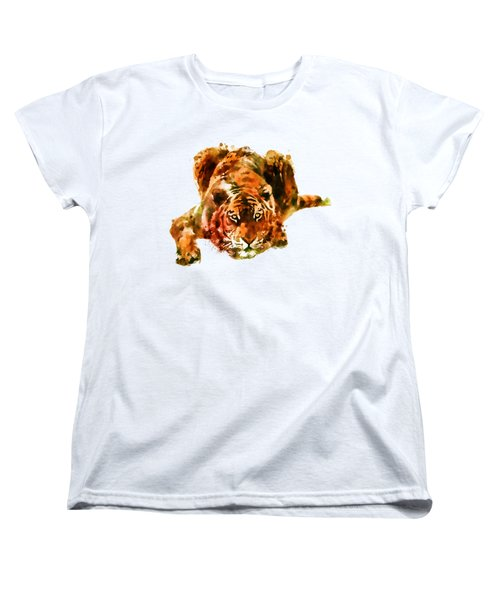 Lurking Tiger Women's T-Shirt (Standard Cut) by Marian Voicu