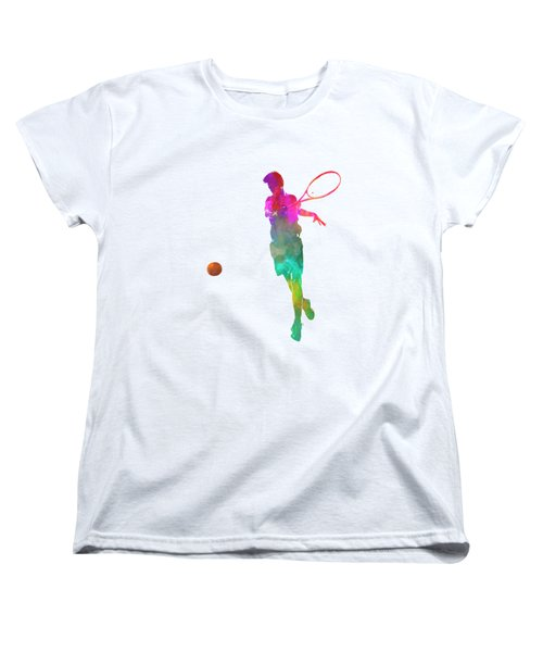 Man Tennis Player 01 In Watercolor Women's T-Shirt (Standard Cut) by Pablo Romero