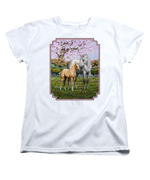 Mare And Foal Pillow Pink Women's T-Shirt (Standard Cut) by Crista Forest