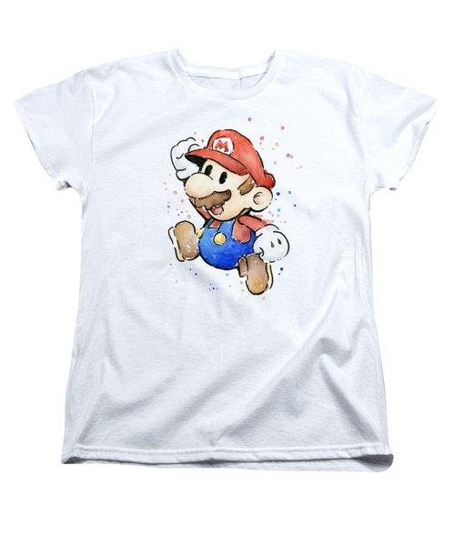 Mario Watercolor Fan Art Women's T-Shirt (Standard Cut) by Olga Shvartsur