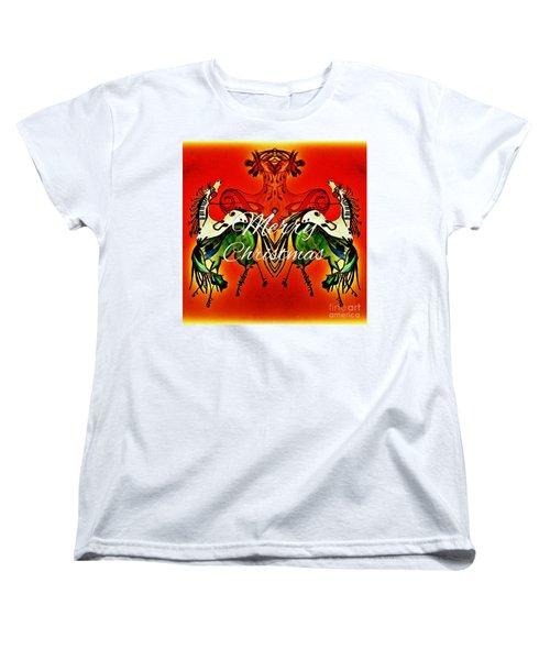 Merry Christmas Dancing Musical Horses Women's T-Shirt (Standard Cut) by Scott D Van Osdol