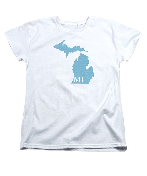 Michigan State Map With Text Of Constitution Women's T-Shirt (Standard Cut) by Design Turnpike
