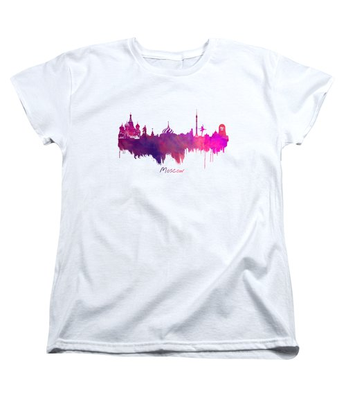 Moscow Russia Skyline Purple Women's T-Shirt (Standard Cut) by Justyna JBJart